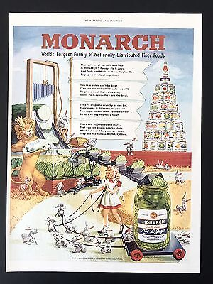 1949 Vintage Print Ad MONARCH Foods Pickles Color Illustration Girl Bunny