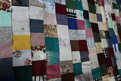 """7 Vintage quilt blocks / strips 4""""w and 92"""" long Patchwork Squares Project Craft"""