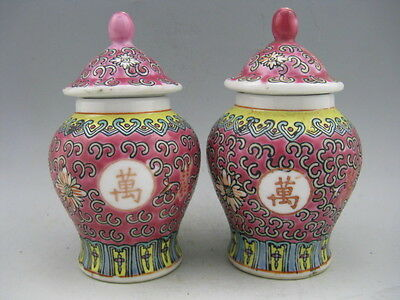 a pair Collectible Chinese Porcelain Hand Painted Calligraphy Flower Vase