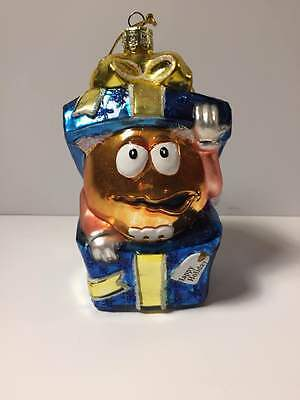 Glass M&M's Candy Christmas Tree Ornament Present Package