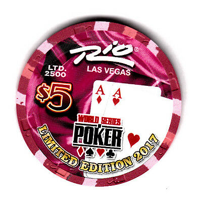 "Rio Las Vegas 2017 ""$5 World Series of Poker"" Red Aces Chip"