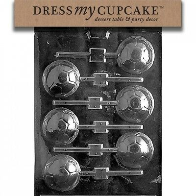 Dress My Cupcake DMCS019 Chocolate Candy Mould, Soccer Ball Lollipop