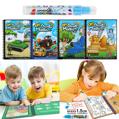 Magic Water Drawing Book Intimate Painting Board Educational Toy With Pen AU
