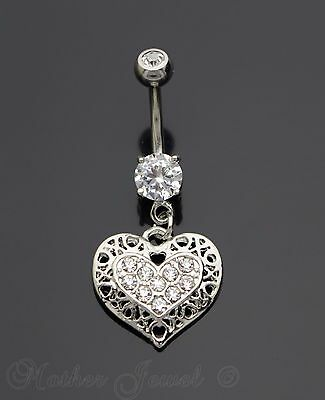 Silver Surgical Steel Love Heart Dangle Simulated Diamond Belly Navel Ring