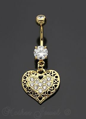 14K Yellow Gold Ip Filigree Love Heart Dangle Simulated Diamond Belly Navel Ring