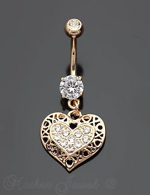 14K Rose Gold Ip Filigree Love Heart Dangle Simulated Diamond Belly Navel Ring