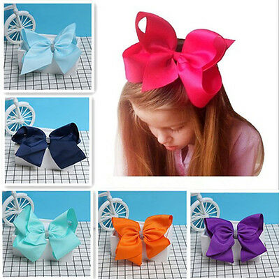 8 Inch Cute Boutique Hair Clip Pin Alligator Clips Grosgrain Ribbon Bow Girl 1