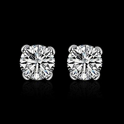 9K White Gold Gf Silver Round Stud Simulated Diamonds Solid Mens Womens Earrings