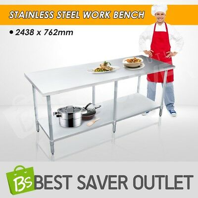 Kitchen Work Bench Stainless Steel Top Table Food Prep Catering 2438mm x 762mm