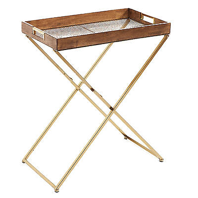 Luxe Folding Side Table - Bronze finish & Elm wood - Butlers Tray