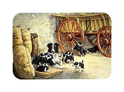 Caroline's Treasures Border Collie Dog Litter Glass Cutting Board, Large,
