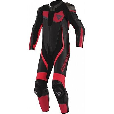 Dainese Veloster 1 Piece Leather Racing Suit Black/red