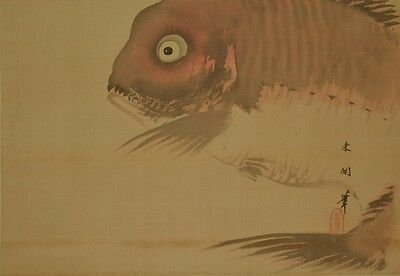 Japanese Painting red snapper Hanging Scroll Picture Antique Japan ink art a257