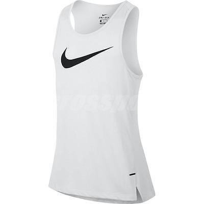 Nike Men Breathe Top Dry Elite Tank Basketball Sport Gym White Black 830952-010