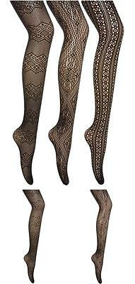 Fishnets Stockings 3 Patterned Net Pairs Pantyhose Plus Size Black Tights New