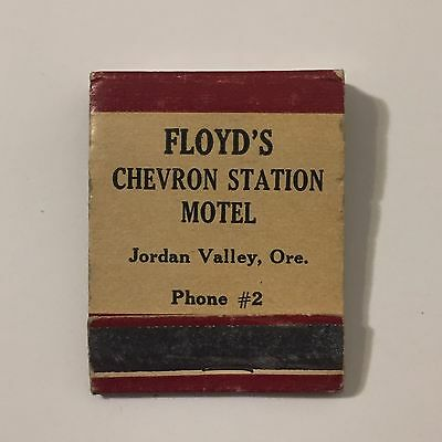 Vtg 1950s Floyds Chevron Gas Station Matchbook Jordan Valley Oregon Front Strike