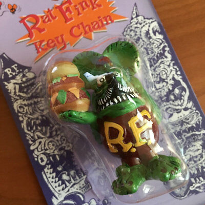 New!! RAT FINK Burger Keychain ED ROTH Flathead 32 FORD 55 Chevy DRAG RACING VW