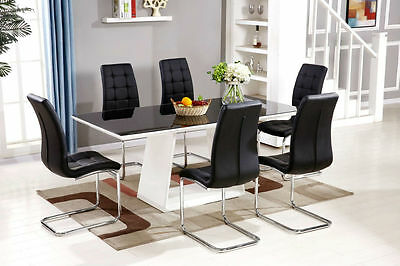 MURANO Black/White High Gloss Glass Dining Table Set and 6 Leather Chairs Seats