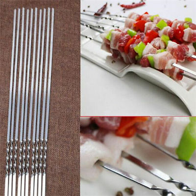 10pcs Stainless BBQ Steel Skewer Flat Shish Kebob Fork Skewers Utensil 35~40CM ^