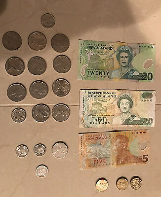 New Zealand Total NZ$55.30 Dollars> Mix Banknote + Coin Foreign Currency