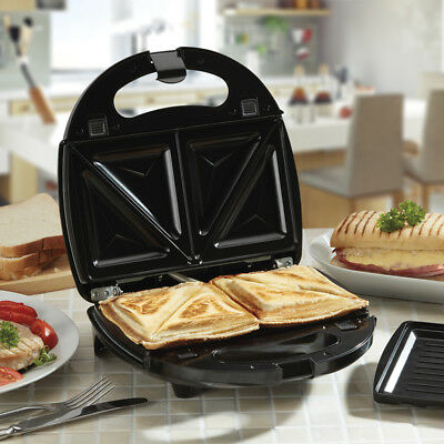 Cooks Professional Non-Stick Changeable Plates 2 in 1 Sandwich Maker and Grill
