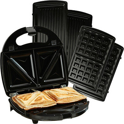 Cooks Professional Non-Stick Changeable Plates 3 in 1 Sandwich Maker and Grill