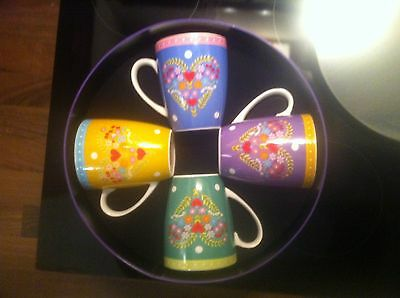 Maxwell Williams GYPSY HEART mugs set of 4 PORCELAIN . and MATCHING CAKE TIN !!!