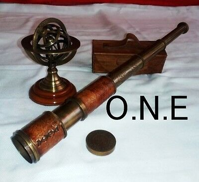 Great Astrolabl Brass Armillary Spher Antique Nautical Vintage Leather Telescope