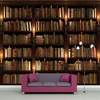Retro European Bookshelf 3D Full Wall Mural Photo Wallpaper Printing Home Decor