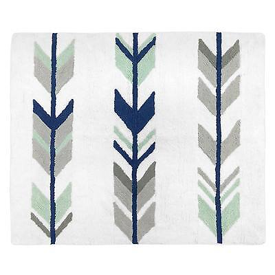 Baby Nursery Rugs Grey Mint Mod Arrow Floor Rug Mat Soft Cotton Yarn Room Decor