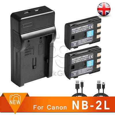 2x Battery+USB Charger for Camera Canon NB-2LH NB-2L EOS 400D 350D G9 G7 UK RML