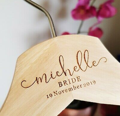 ❤ PREMIUM Personalised Bride Wooden Deluxe Coat Hangers Bridesmaid Wedding Gift