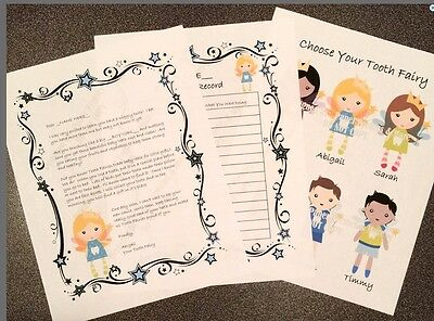 PERSONALIZED Tooth Fairy Letter & Tooth Loss Record CHOOSE YOUR FAIRY - Digital