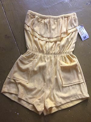 Vintage 70s 80s Deadstock Nwt Terry Cloth Romper Shorts Jumper Playsuit Medium