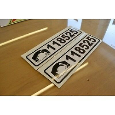 Licence Number (PRINTED) Narrowboat  Stickers Decals Graphics - PAIR