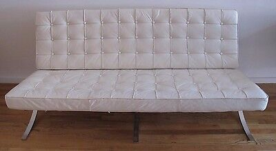 MID CENTURY BARCELONA STYLE LEATHER SOFA mies van der rohe knoll modern