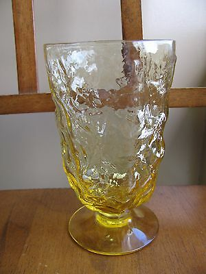 Morgantown Crinkle Topaz Yellow Footed Water Goblet Glass Vintage Mid Century