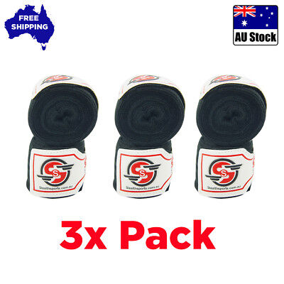 BOXING HAND WRAPS MMA INNER GLOVES BLACK FIST PROTECTOR BANDAGES WRIST 3x PACK