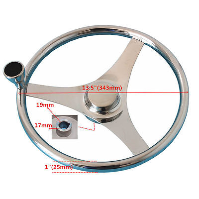"Boat Stainless Steering Wheel 3 Spoke 13-1/2"" Dia With Knob - AU STOCK"