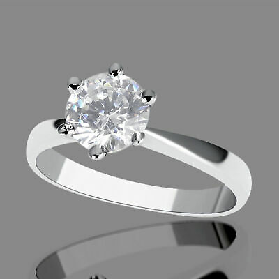 Solitaire 14K White Gold Round Cut Diamond Engagement Ring Enhanced 0.45 CT F/VS