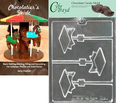 Cybrtrayd Graduation Cap Lolly Chocolate Candy Mould with Chocolatier's Guide