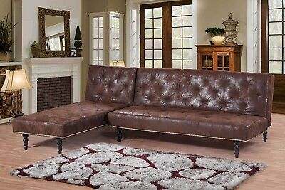 Chaise Lounge and 3 Seater Sofa Bed Victorian Antique Style Faux Leather Suede