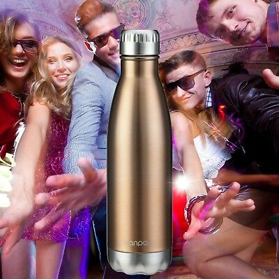 (Bronze Gold) - Vanpo Vacuum Insulated Water Bottle 500ml Double Wall