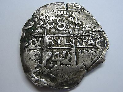 1742 Potosi 8 Real Cob Philip V Assayer C Bolivia Spanish Spain Silver