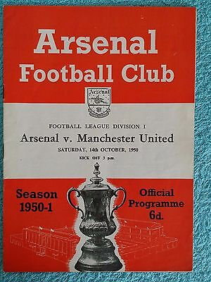 1950 - ARSENAL v MANCHESTER UNITED PROGRAMME - FIRST DIVISION 50/51