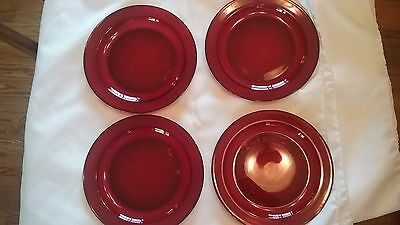 4 Ruby Red Arcorac glass dinner plates 9 3/16
