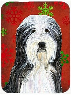 (Red and Green Snowflakes) - Caroline's Treasures SS4704LCB Bearded Collie Red