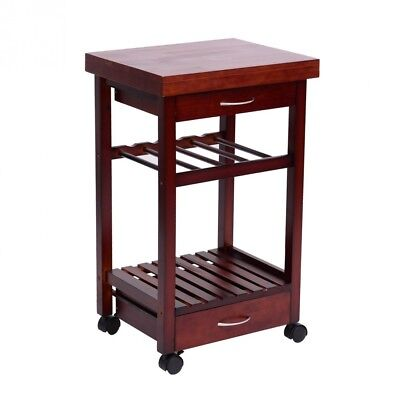 (Brown) - HomCom 48cm Rolling Wooden Storage Cart with Drawers and Wine Rack,