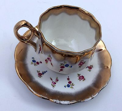 Gold and White Floral Tea Cup and Saucer Set Lefton Bone China Numbered
