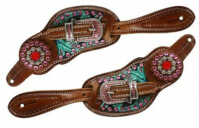 Showman Ladies Western Floral Tooled Turquoise & Pink Crystal Spur Straps